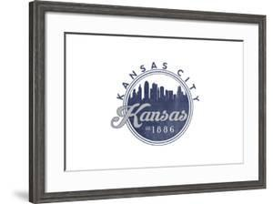 Kansas City, Kansas - Skyline Seal (Blue) by Lantern Press
