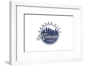 Kansas City, Kansas - Skyline Seal (Blue) by Lantern Press