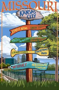 Kansas City, Missouri - Signpost Destinations by Lantern Press