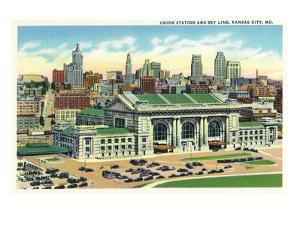 Kansas City, Missouri - Union Station and Skyline View by Lantern Press