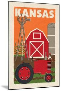 Kansas - Country - Woodblock by Lantern Press