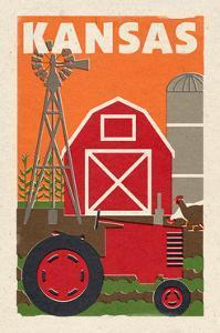 Kansas - Country - Woodblock by Lantern Press