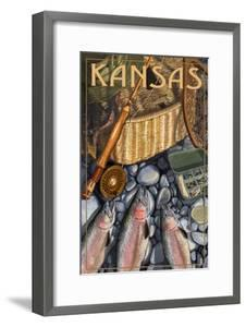 Kansas - Fishing Still Life by Lantern Press