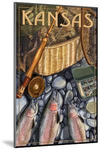 Kansas - Fishing Still Life by Lantern Press