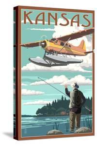 Kansas - Float Plane and Fisherman by Lantern Press