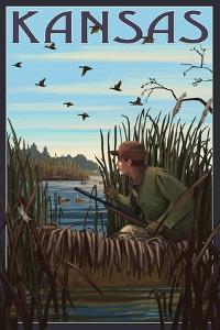 Kansas - Hunter and Lake by Lantern Press