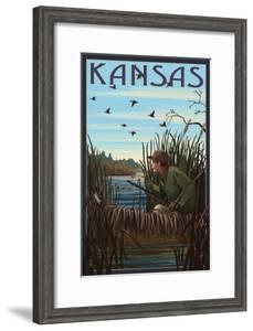 Kansas - Hunter and Lake by Lantern Press