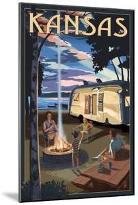 Kansas - Retro Camper and Lake by Lantern Press