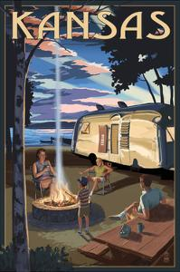 Kansas - Retro Camper and Lake by Lantern Press