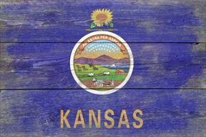 Kansas State Flag - Barnwood Painting by Lantern Press