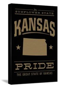 Kansas State Pride - Gold on Black by Lantern Press