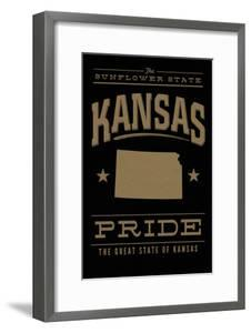 Kansas State Pride - Gold on Black by Lantern Press