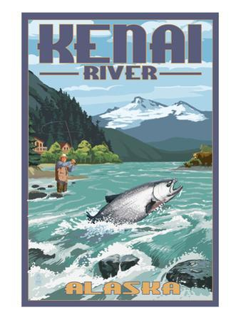 Kenai River, Alaska - Salmon Fisherman by Lantern Press
