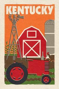 Kentucky - Country - Woodblock by Lantern Press