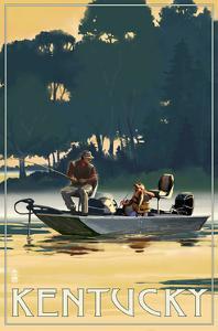 Kentucky - Fishermen in Boat by Lantern Press