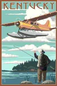 Kentucky - Float Plane and Fisherman by Lantern Press