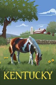 Kentucky - Horse in Field by Lantern Press