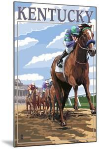 Kentucky - Horse Racing Track Scene by Lantern Press