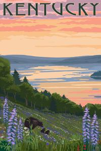 Kentucky - Lake and Bear Family by Lantern Press