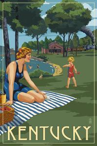 Kentucky - Lake and Picnic Scene by Lantern Press