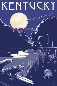 Kentucky - Lake at Night by Lantern Press