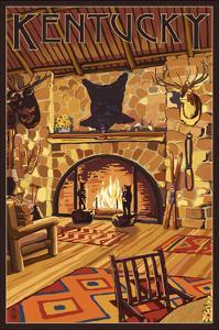 Kentucky - Lodge Interior by Lantern Press