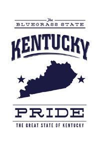 Kentucky State Pride - Blue on White by Lantern Press