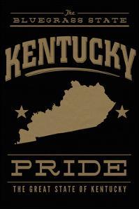 Kentucky State Pride - Gold on Black by Lantern Press