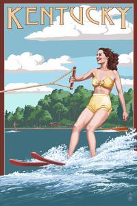 Kentucky - Water Skier and Lake by Lantern Press