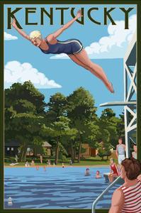 Kentucky - Woman Diving and Lake by Lantern Press