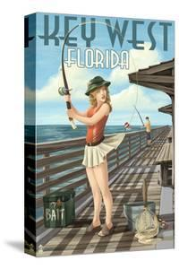 Key West, Florida - Fishing Pinup Girl by Lantern Press