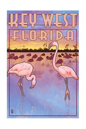 Key West, Florida - Flamingos by Lantern Press
