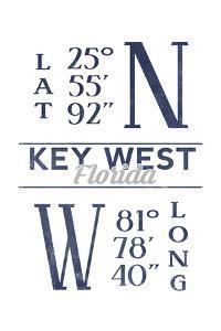 Key West, Florida - Latitude and Longitude (Blue) by Lantern Press