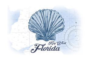 Key West, Florida - Scallop Shell - Blue - Coastal Icon by Lantern Press