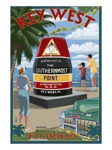 Key West, Florida - Southernmost Point by Lantern Press