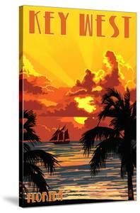 Key West, Florida - Sunset and Ship by Lantern Press