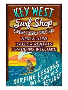 Key West, Florida - Surf Shop by Lantern Press