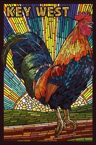 Key West - Rooster Mosaic by Lantern Press