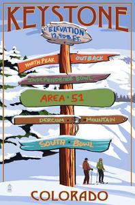 Keystone, Colorado - Ski Signpost by Lantern Press