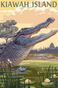 Kiawah Island, South Carolina - Alligator and Baby by Lantern Press