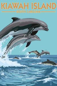 Kiawah Island, South Carolina - Dolphins Jumping by Lantern Press