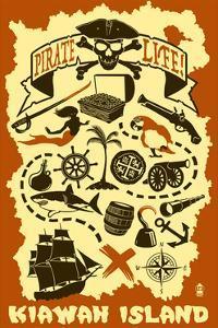 Kiawah Island, South Carolina - Pirate Icons by Lantern Press