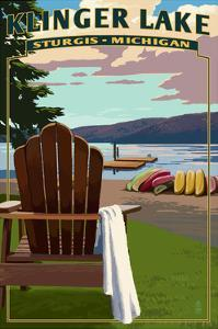 Klinger Lake - Sturgis, Michigan - Adirondack Chairs by Lantern Press