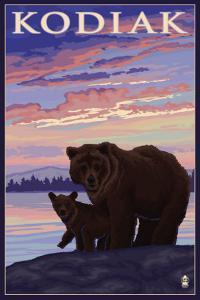 Kodiak, Alaska - Bear and Cub, c.2009 by Lantern Press