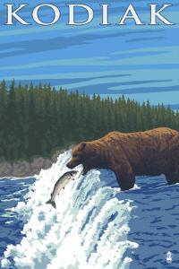 Kodiak, Alaska - Bear Fishing, c.2009 by Lantern Press
