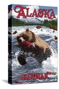 Kodiak, Alaska - Grizzly Bear Fishing by Lantern Press