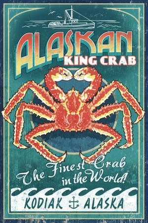 Kodiak, Alaska - King Crab Vintage Sign