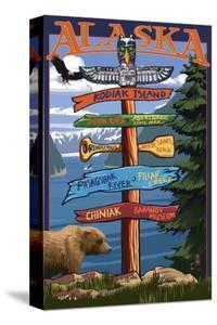 Kodiak Island, Alaska - Destination Sign by Lantern Press