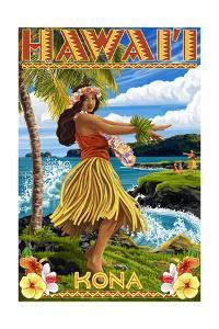 Kona, Hawaii - Hula Girl on Coast by Lantern Press