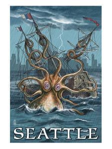Kraken Attacking Ship - Seattle by Lantern Press